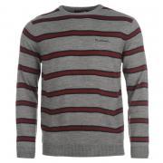 Pierre Cardin Two Stripe Knit Jumper Mens Grey Marl