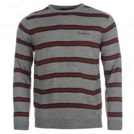 Pierre Cardin Two Stripe Knit Jumper Mens Grey Marl