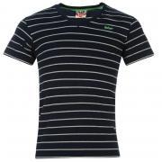 Tričko Lee Cooper Yarn Dye V Neck TShirt Mens Navy/Grey M