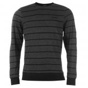 Donnay Striped Long Sleeve T Shirt Mens Charcoal Marl