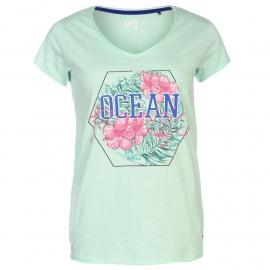 Ocean Pacific Pacific Graphic V Neck T Shirt Ladies Aqua