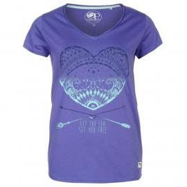 Ocean Pacific Pacific Graphic V Neck T Shirt Ladies Purple