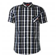 Košile Kickers Short Sleeve Checked Shirt Mens Navy Check