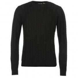 Mikina Lee Cooper Cable Knit Sweater Mens Jet Black