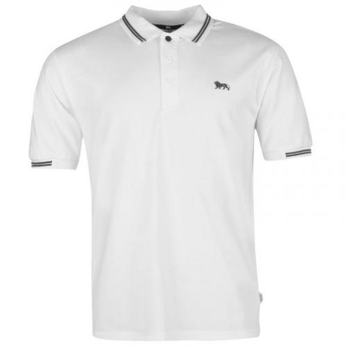 22d586bfdd14 Lonsdale Lion Polo Shirt Mens White Charcoal