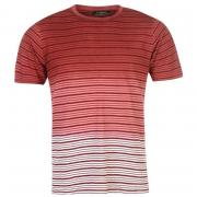Tričko Pierre Cardin C Stripe Dip Dye Tshirt Mens Burg/White