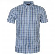 Košile Pierre Cardin Cotton Short Sleeve Check Shirt Mens Wht/Sky/Royal