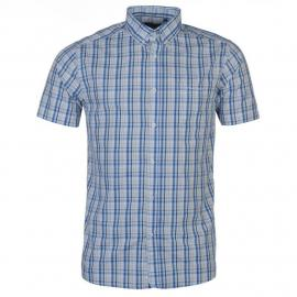 Košile Pierre Cardin Cotton Short Sleeve Check Shirt Mens Wht/Sky/Royal