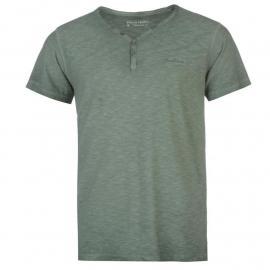 Tričko Pierre Cardin Henley Short Sleeve Tshirt Mens Green