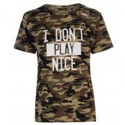 Tričko Golddigga Army Ripped T Shirt Ladies Camo AOP