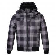 Lee Cooper Hooded Padded Jacket Mens Black/Check