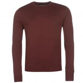 Pierre Cardin Crew Knit Jumper Mens Burgundy