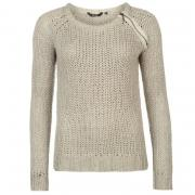 Golddigga Zip Shoulder Knit Jumper Ladies Soft Grey