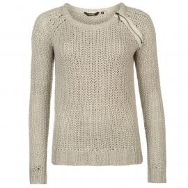 Golddigga Zip Shoulder Knit Jumper Ladies Soft Grey