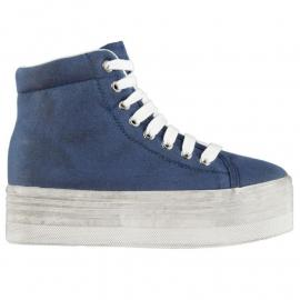 Jeffrey Campbell Play Canvas Washed Hi Tops Blue/White