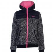 Lee Cooper Padded Knit Hooded Jacket Ladies Navy/Pink