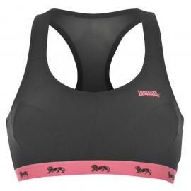 Lonsdale Crop Top Ladies Black/Fluo Pink