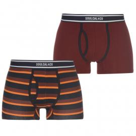SoulCal Multi Stripe Boxer Set Mens Burgundy