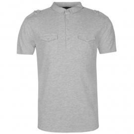 Firetrap Double Pocket Polo Shirt Mens Grey Marl