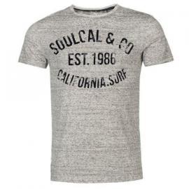 Tričko SoulCal AOP Flock T Shirt Mens Grey Marl