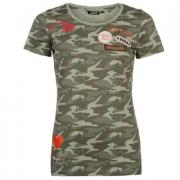 Golddigga Badge T Shirt Ladies Dark Khaki