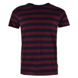 Tričko Lee Cooper Cooper Stripe Crew Neck T Shirt Mens Navy/Burgundy