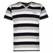 Tričko Pierre Cardin V Neck Stripe T Shirt Mens Grey