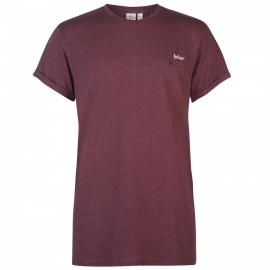 Tričko Lee Cooper Essential Roll Sleeve T Shirt Mens Burgundy Marl