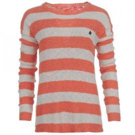 Svetr SoulCal Stripe Knitted Sweatshirt Ladies Fl Coral/Ecru