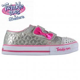 Skechers Twinkle Toes Shuffles Starlight Infants Trainers Silver/Pink