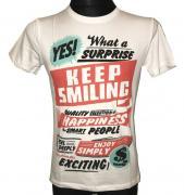 Pánské tričko Keep Smiling s krátkým rukávem bílá