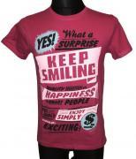 Pánské tričko Keep Smiling s krátkým rukávem růžová