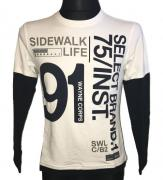 Pánské tričko s dlouhým rukávem sidewalk life bílá