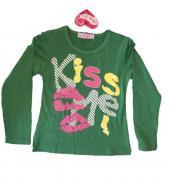 Dívčí triko s dlouhým rukávem zelená