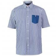 Pierre Cardin Pocket Detail Striped Short Sleeve Shirt Mens Dk Blue/Wht