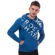 Mikina Crosshatch Black Label Mens Lapout Logo Hoody Blue