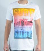 Pánské triko Gildan - SURF LIVE SURF bílá