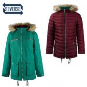 Lee Cooper Faux Fur Hood Reversible Jacket Mens Army Green